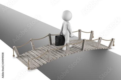 Wall mural 3D Illustration weißes Männchen überquert eine Brücke