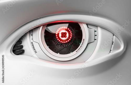 Leinwandbild Motiv 3D Illustration Roboter Auge