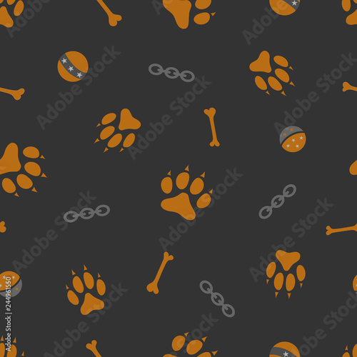 fototapeta na ścianę Dark seamless pattern with dog paw, bone, chain and ball.