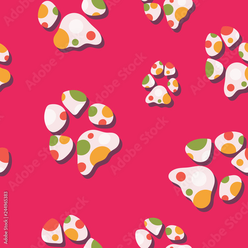 fototapeta na ścianę Multicolor dog paw print seamless pattern. Colorful vector design, great for all dog and puppy products and businesses. Some usage ideas are graphic design projects, textiles, stationery and parties.