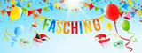 Fasching - Himmel mit hängender Typographie, Luftballons, Girlanden und fliegenden, Fasching Accessoires Banner