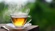 Leinwandbild Motiv Hot tea in coffee shop with green garden outdoor in the morning