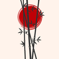 Japan styled bamboo and red sun silhouettes. Flat vector illustration.