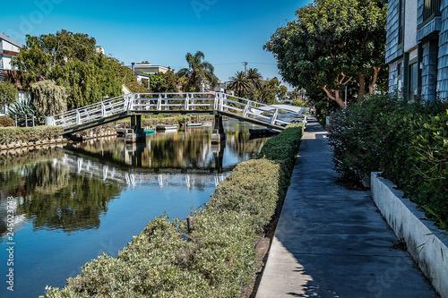 pedestrian bridge over canal, Venice, Los Angeles, California