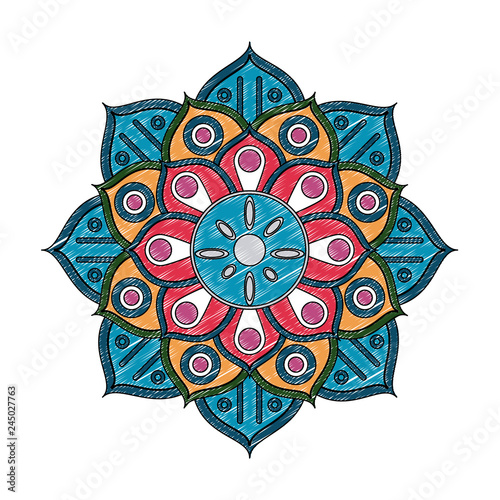 Mandala indian emblem scribble