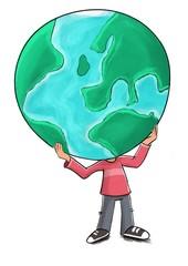 Persona cargando con el planeta tierra