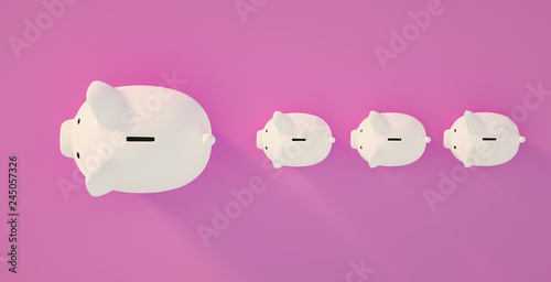 Leinwanddruck Bild Piggy Bank save money investment concept