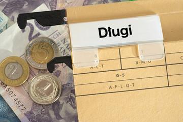 Geldscheine und Münzen Polnische Zloty PLN und ein Ordner mit dem Wort Schulden