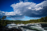Fototapeta Na sufit - landscape with river and clouds, in Norway Scandinavia North Europe © underworld