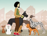 dog sitter with various breeds of dogs