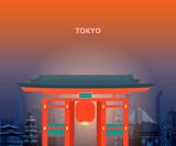 Illustration of tokyo temple japan.
