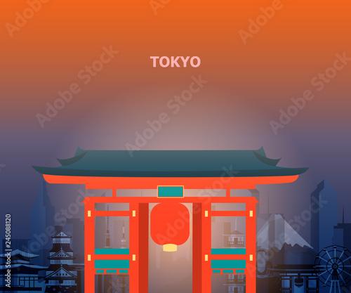fototapeta na ścianę Illustration of tokyo temple japan.