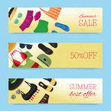 Beach fashion banners vector illustration. Summer woman s outfit. Fashion set with beach clothes and accessories. Sale and discount. Summer best offer. Clothing advertisement.