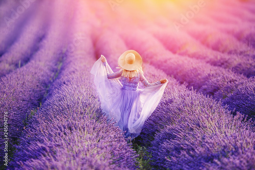 Woman in lavender flowers field at sunset in purple dress. France, Provence - 245094776