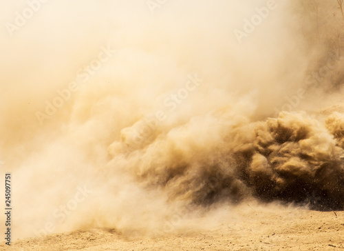 Dust cloud on nature as background - 245097751