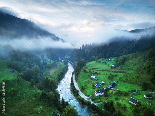 Mountains with forests and river. Carpathian Mountains - 245098138