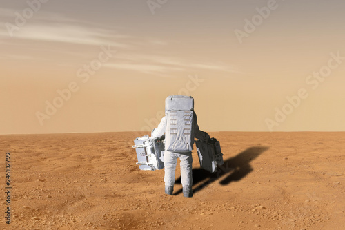 astronaut doing his mission land on planet mars. solar system b. elements of this image furnished by nasa - 245102799