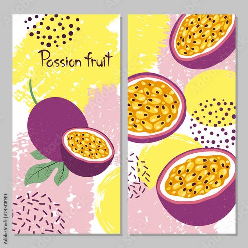 Passion fruit vector illustration. Bright summer print. - 245118140