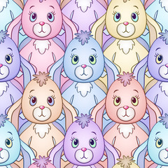 Seamless Background with Colorful Cartoon Rabbits, Bunnies, Tile Pattern with Cute Characters. Vector