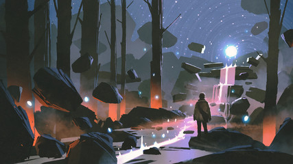 man looking at the glowing light ball floating above waterfall in enchanted forest, digital art style, illustration painting © grandfailure