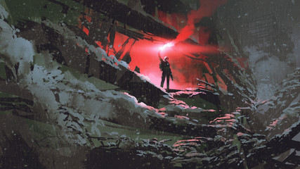 apocalypse world concept showing the man holding a red smoke flare in the destroyed building, digital art style, illustration painting © grandfailure