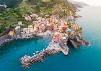 Aerial view of Vernazza, a wonderful village into the Cinque Terre natural park, La Spezia, Liguria, Italy © stefanotermanini