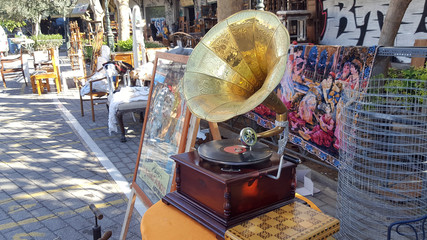 Gramophone for sale at the famous Flea market on Athens, Greece