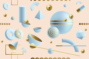 Creative, dynamic 3D geometric seamless pattern with abstract shapes  © Diana Hlevnjak