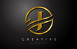 J Golden Letter Logo Design with Circle Swoosh and Gold Metal Texture