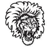 Lion angry face tattoo. Vector illustration of lion head. Safari print.