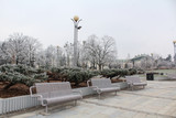 Winter in the city - empty park with white benches and frozen trees and bushes