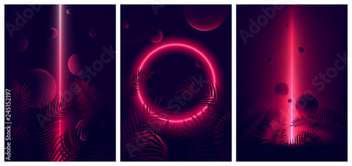 Glowing line red neon reflex on tropical leaves and spheres, Futuristic gradient glow on dark background, Vector retro poster