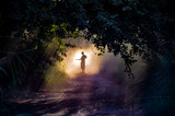 Fototapeta Zachód słońca - man silhouette in the fog  © doomrabbit