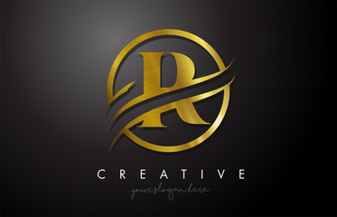 R Golden Letter Logo Design with Circle Swoosh and Gold Metal Texture