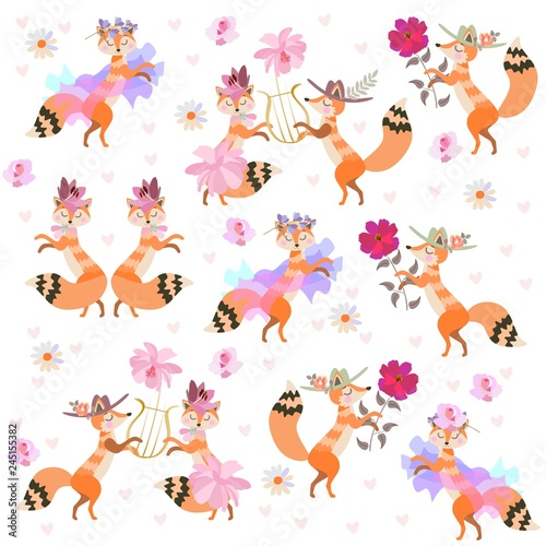 Cute cartoon foxes dancing isolated on white background in vector. Beautiful collection.