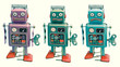 grim perplexed  and sad robots on white