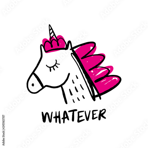 Cute vector illustration of little unicorn pony head.