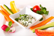 canvas print picture - Gesundes Essen Gemüse Sticks mit Jogurt Dip