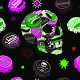 Seamless pattern with colorful pop art objects skulls, stars, caps can be used as cool print for clothes. Creative pop art  poster