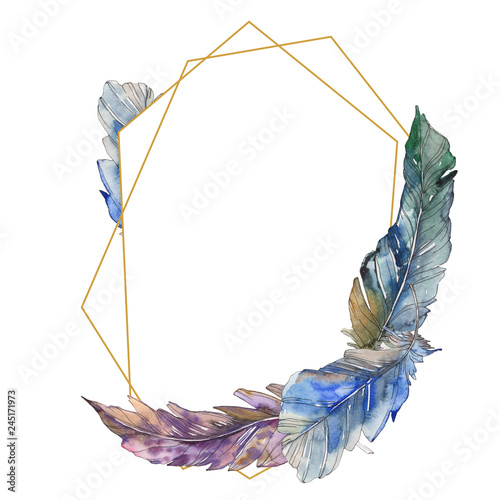 Leinwandbild Motiv Bird feather from wing isolated. Watercolor background illustration set. Frame border ornament square.