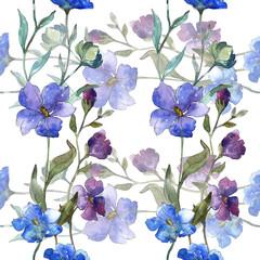 Blue purple flax floral botanical flower. Watercolor background illustration set. Seamless background pattern.