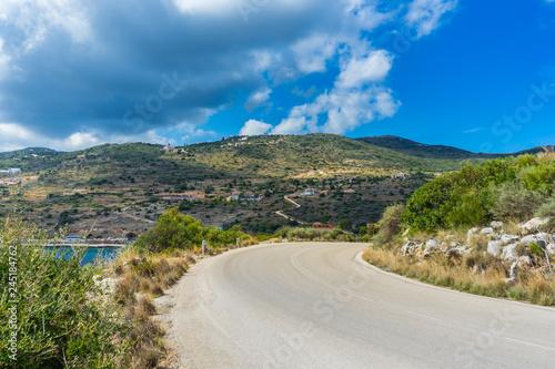 Greece, Zakynthos, Twisting road throug beautiful mountainous landscape to agios nikolaos
