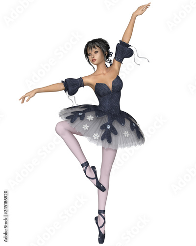 Ballerina in Dark Blue Snowflake Tutu, Retiré Pose - illustration © Algol