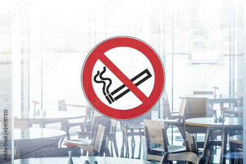 no smoking sign on restaurant / cafe window   - 245187313
