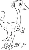 Gallimimus Dinosaur Coloring Page Vector Illustration Art