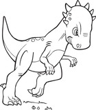 Pachycephalosaurus Dinosaur Vector Coloring Page Illustration Art