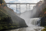Mist Rises Up Towards the Portage Viaduct in New York's Letchworth State Park