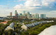 Low aerial view of downtown Tampa, Florida with expensive waterfront homes