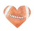 Leinwanddruck Bild - American football ball in heart silhouette. Red-brown color, white stripes, close up. Handdrawn watercolour drawing on white backdrop, cutout clipart element for design, fashion prints, decoration.