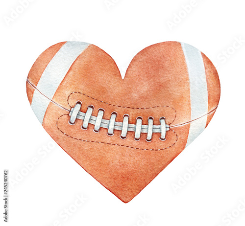 Leinwanddruck Bild American football ball in heart silhouette. Red-brown color, white stripes, close up. Handdrawn watercolour drawing on white backdrop, cutout clipart element for design, fashion prints, decoration.